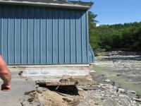 Town garage damaged by Chickley River flooding