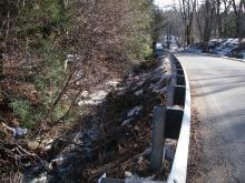 Stream, riprap along Creamery Road, Ashfield
